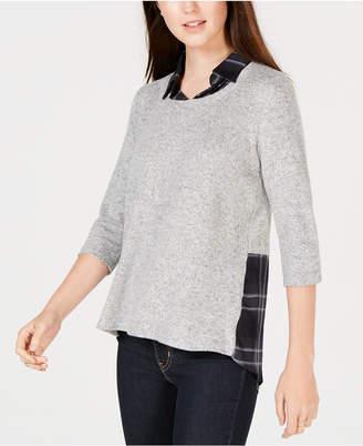 BCX Juniors' Layered-Look Plaid Sweater Top