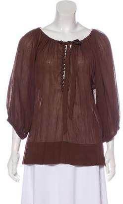 By Malene Birger Long-Sleeve Textured Blouse