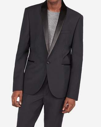 Express Extra Slim Black Wool-Blend Performance Shawl Collar Tuxedo Jacket