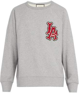 Gucci La Angels Appliqued Cotton Sweatshirt - Mens - Grey