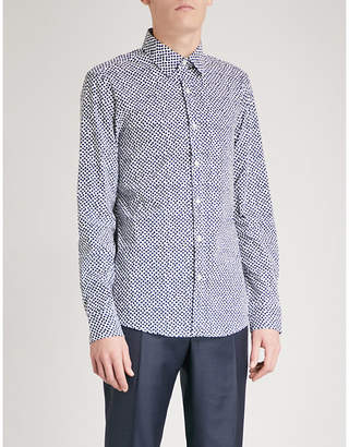 Michael Kors Slim-fit scattered cube print stretch-cotton shirt