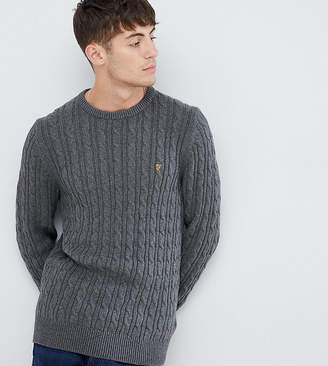 Farah Ludwig cable crew neck sweater in dark gray
