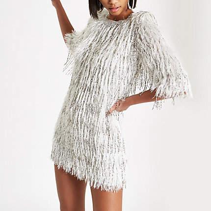 Womens Silver sequin embellished fringe dress