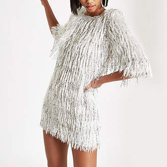 River Island Silver sequin embellished fringe dress