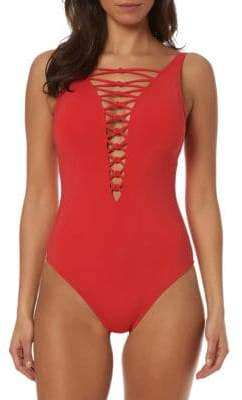 8f3b0a5e0473d Bleu Rod Beattie Lace-Up Front One-Piece Swimsuit