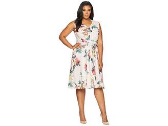 Tahari ASL Plus Size Georgette Wrap Waist Dress