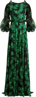 Andrew Gn Peacock feather-print silk gown