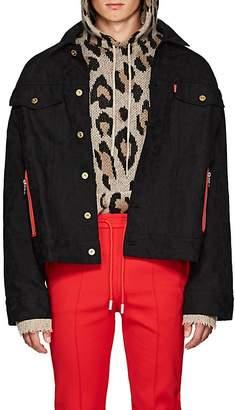 LANDLORD Men's Leopard-Jacquard Denim Trucker Jacket