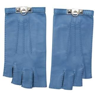 Hermes Vintage Blue Leather Gloves