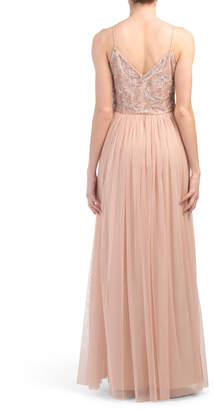 Adrianna Papell Spaghetti Strap Beaded Gown