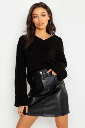 boohoo Petite V Neck Oversized Sleeve Sweater