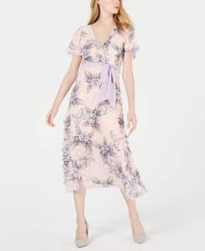 Foxiedox Short-Sleeve Applique Floral Midi Dress