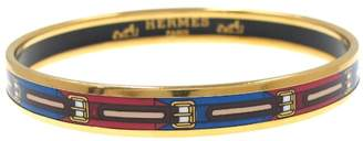 Hermes Gold-Tone Multi Color Bangle Bracelet