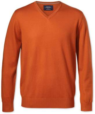 Charles Tyrwhitt Orange Merino Wool V-Neck Sweater Size Large