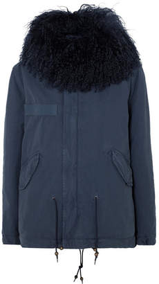 Mr & Mrs Italy Hooded Shearling-trimmed Cotton-canvas Parka - Blue