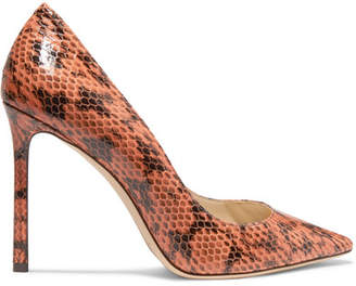 Jimmy Choo Romy 100 Elaphe Pumps - Orange