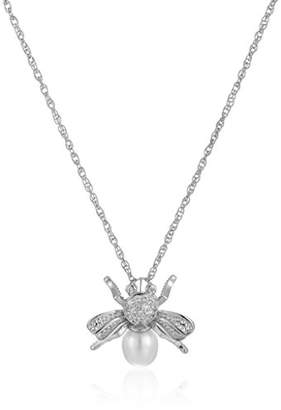 Bumble Bee Sterling Silver Freshwater Cultured Pearl and Created Sapphire Bumblebee Pendant Necklace