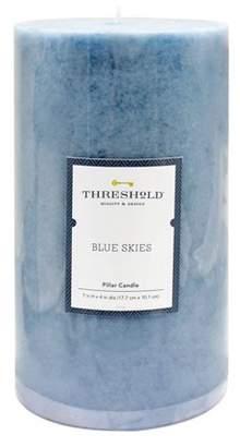 Threshold Mottled Pillar Candle Blue Skies