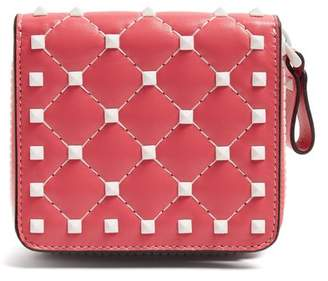 Valentino Free Rockstud Zip Around Quilted Leather Wallet - Womens - Pink White