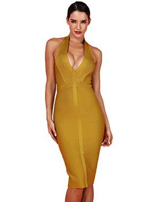 Deer Lady Womens Halter Bodycon Midi Simple Cocktail Party Bandage Dress S
