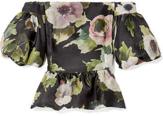 Marchesa Off-the-shoulder Floral-print Silk-moire Peplum Top - Black