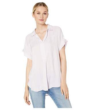 Vince Camuto Short Sleeve Collared Henley Rumple Blouse