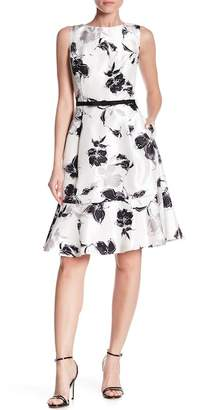 Gabby Skye Sleeveless Floral Waist Belt Dress