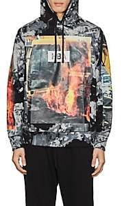 Hood by Air MEN'S FIRE-PRINT COTTON TERRY HOODIE SIZE L