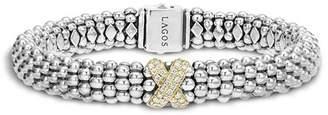 Lagos Sterling Silver 18K Gold Diamond X Rope Bracelet