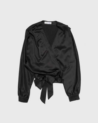 The Great Eros Black Ereni Wrap Top