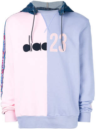 Diadora colour-block hooded sweatshirt