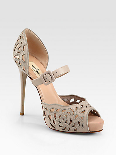 Valentino Cutout Leather Mary Jane Pumps