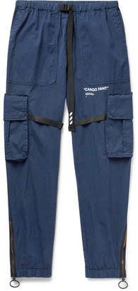 Off-White Off White Tapered Webbing-Trimmed Cotton-Blend Cargo Trousers - Men - Blue