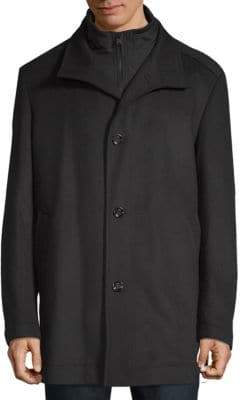 HUGO BOSS Wool Zip-Front Coat