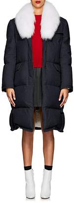 Thom Browne Women's Fur-Trimmed Down-Quilted Wool Coat