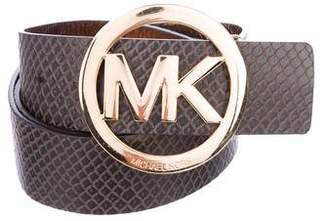 MICHAEL Michael Kors Embossed Leather Logo Belt