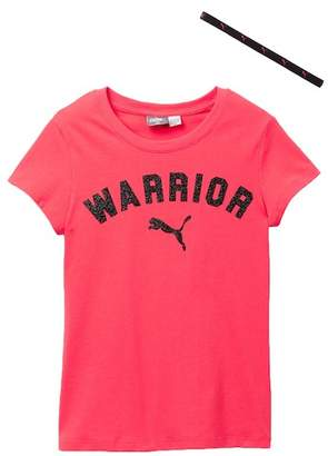 Puma Graphic Tee with Headband (Big Girls)