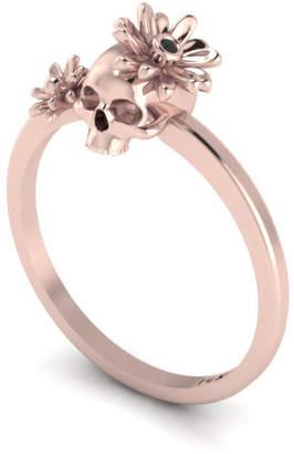 Antoanetta 14k Rose Gold Skull & Flowers Ring