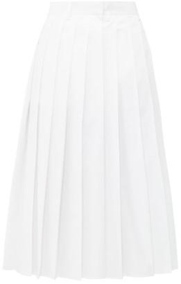 Prada Pleated High Rise Cotton Poplin Midi Skirt - Womens - White