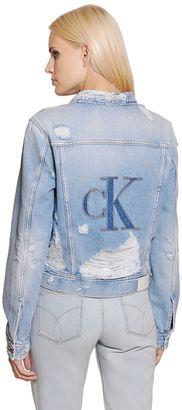 Ck Embroidered Cotton Denim Jacket $181 thestylecure.com