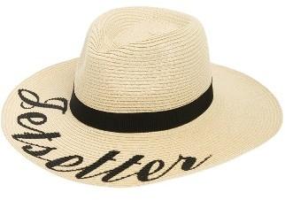 Women's Phase 3 Wordplay Floppy Straw Hat - Black $29 thestylecure.com