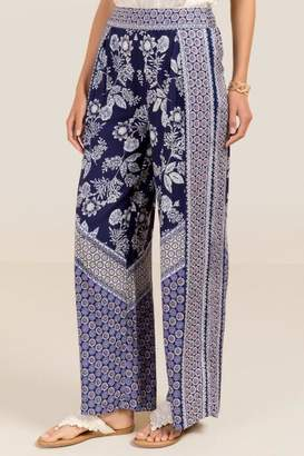 Milly Tie Waist Floral Palazzo Pants - Navy