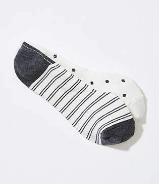 LOFT Dot & Stripe No Show Sock Set