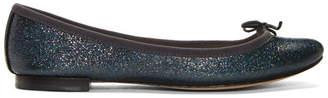 Repetto Blue Glitter Cendrillon Ballerina Flats