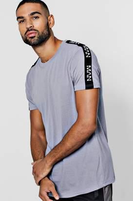 boohoo Longline Curved Hem T-Shirt With Man Tape