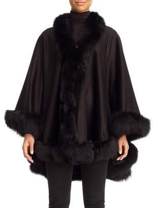 Gorski Cashmere Cape with Fox Fur Trim, Black