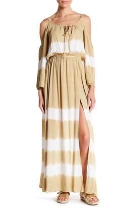 AAKAA Cold Shoulder Tie Dye Maxi Dress