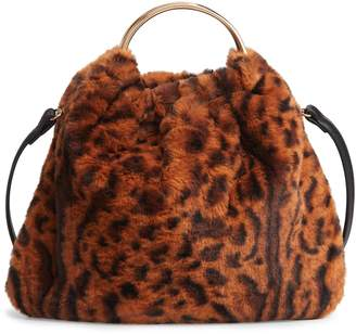 Street Level Ring Handle Faux Fur Bag