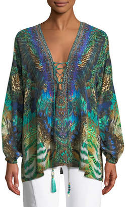 Camilla Printed Silk Long-Sleeve Lace-Up Blouse