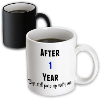 with me. 3drose 3dRose After 1 Year She Still Puts Up With Me, Black And Blue Letters - Magic Transforming Mug, 11-ounce
